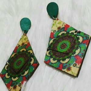 Jewelry - Full Circle Wooden Mosaic Dangle Earrings
